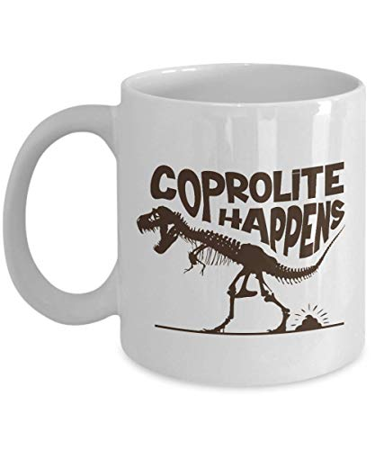 (Funny Coprolite Happens With T-Rex Dinosaur Skeleton Novelty Coffee & Tea Gift Mug, Pen Cup, Party Supplies, Office Décor, Kitchen Decorations, Dishes, Items And Ornament For T. Rex Lover Men & Women)