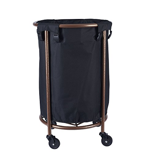 Household Essentials 6421-1 Round Laundry Hamper with Wheels, Copper (Metal Hampers)