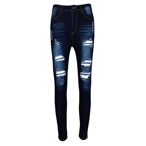 Denim Femme Casual fonc Prettyia Pantalon Dchirs Longue bleu P Jeans L Elastique Haute Taille 5XL 8Zx5wnqa