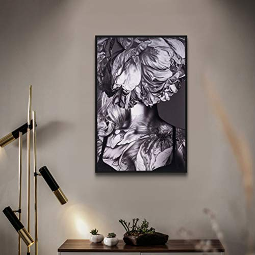 [해외]MOTINI Unique Black White Grey Framed Wall Art Canvas Print Abstract Photograph of Woman Flower Picture for Bathroom Studio Office Living Room Decor / MOTINI Unique Black White Grey Framed Wall Art Canvas Print Abstract Photograph ...