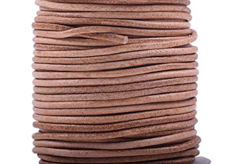 KONMAY 25 Yards Solid Round 1.5mm Natural Genuine/Real Leather Cord Braiding String (1.5mm, Natural)