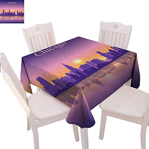 (BlountDecor Chicago Skyline Washable Tablecloth Sunset in Illinois American Horizon Behind High City Silhouettes Waterproof Tablecloths 36