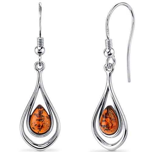 Fine Baltic Amber Earrings - Baltic Amber Dangle Earrings Sterling Silver Cognac Color Tear Drop Shape
