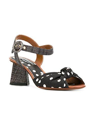 Dolce E Gabbana Women's Cr0240ag369hn86w White/Black Leather Sandals RuR0yhBWS