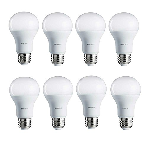Philips 461961 100W Equivalent Soft White A19 LED Light Bulb, 8-Pack, (Philips Led Lighting)