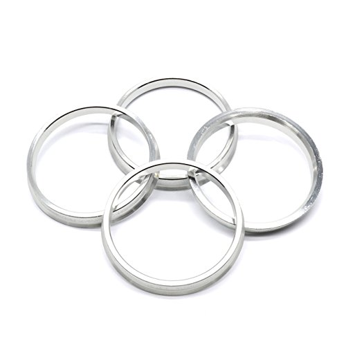 73.1mm OD to 66.1mm ID Silver Aluminum Hub Centric Rings - Pack of 4