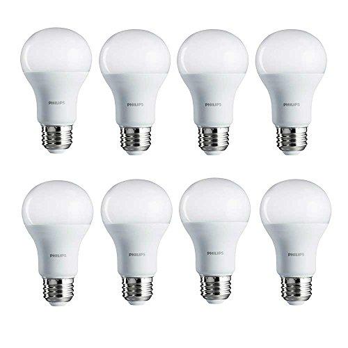 Philips 461961 100W Equivalent Soft White A19 LED Light Bulb, 8-Pack,