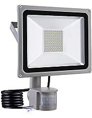 Papasbox reflektor zewnętrzny z czujnikiem ruchu, 50 W, bardzo jasny reflektor 5000 lm, wodoszczelność IP65, 6000 K, białe światło dzienne, lampa ścienna do ogrodu, garażu, podwórza, firmy