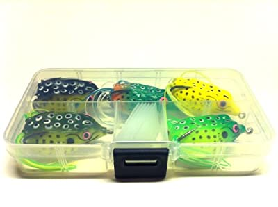 5 Hollow Body Topwater Frogs Fishing Lures Baits with Free Tackle Box 1 1/2 Inch 1/4 Oz FG62KB