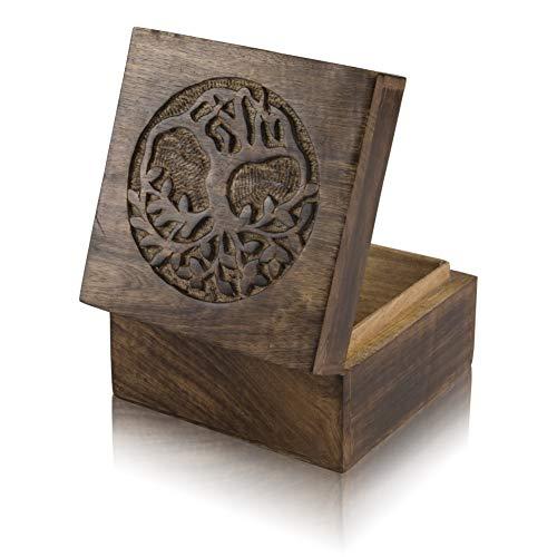 Great Birthday Gift Ideas Handmade Decorative Tree of Life Wooden Jewelry Box Treasure Box Jewelry Organizer Keepsake Box Treasure Chest Trinket Holder Lock Box Watch Box 6 x 6 Inch Gifts for her