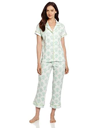 BedHead Pajamas Women's Capri - Short Sleeve, Cream, Large