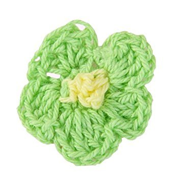 Fence Applique (SODIAL(R) 20 Handmade Crochet Applique 5 Petals green)