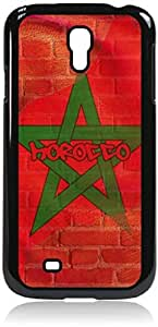 Morrocan Flag - Wall-Art/Street-Art- Case for the Samsung Galaxy S4 i9500- Hard Black Plastic Snap On Case with Soft Black Rubber Lining