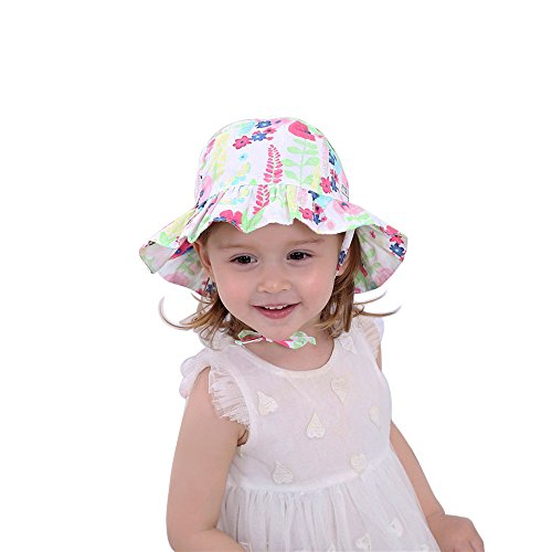 Kids Toddler Baby Girl Bucket Sun Hat with Chin Strap Printcloth Summer Foldable Sunhat Cap 1-2t by HUIXIANG