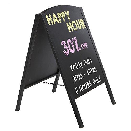 MyGift Black Metal Large A-Frame Erasable Chalkboard Signage/Restaurant Menu Board/Decorative Wedding Sign - Business People Walking