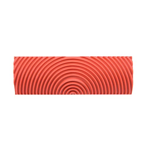 uxcell Wood Grain Tool 4 inch Empaistic Rubber Square Graining Pattern Stamp for Wall Decoration DIY Red