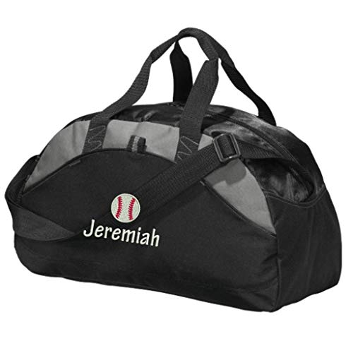 Personalized Baseball Player Team Duffel Gym Bag - Embroidered (Black) ()