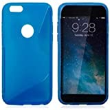 APPLE iPHONE 6/6S S-LINE SILICONE GEL IN BLUE COVER CASE AND SCREEN PROTECTOR FROM GADGET BOXX