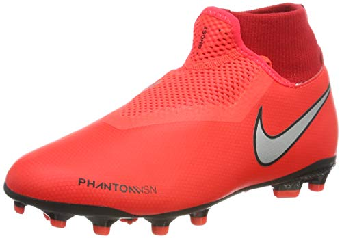 Nike Youth Phantom Vision Academy DF Soccer Cleats (4 Big Kid M US), Bright Crimson/Gym Red/Black/Metallic Silver