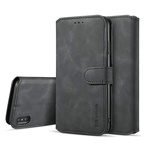 SUTENI iPhone Xs Wallet Case, iPhone Xs Leather Case, Magnetic Closure [Stand Feature] Flip Folio Case with Credit Card Slots and Wrist Strap for iPhone Xs/X (2017) with Gift Box Package (Black)