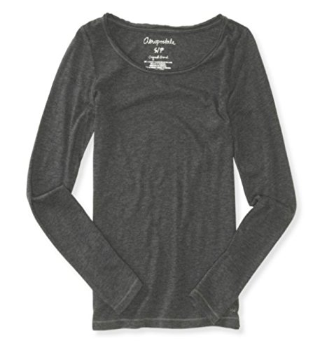 Aeropostale Womens Long Sleeve Basic T-Shirt Dark Gray X-Small (Sleeve Tee Juniors Long)