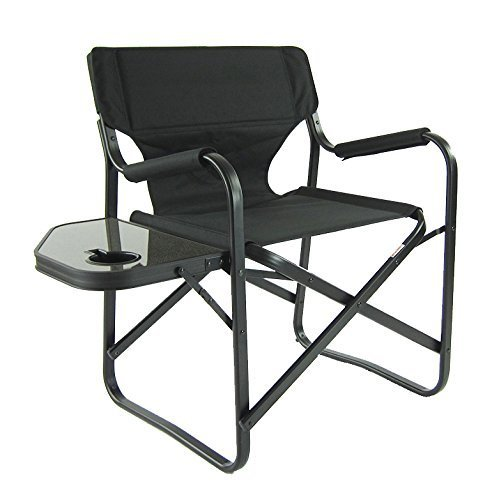 Onway Aluminum Portable Folding Deck Chair with Side Table (Black) - Camping Chair / Director Chair / Outdoor Chair / Garden Chair / Tailgating / Event by Onway Outdoor Furniture