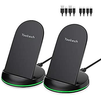 Yootech [2 Pack] Wireless Charger Qi-Certified 10W Max Wireless Charging Stand, Compatible with iPhone 11/11 Pro/11 Pro Max/Xs MAX/XR/XS/X/8, Galaxy ...