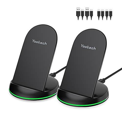 Yootech [2 Pack] Wireless Charger Qi-Certified 10W Max Wireless Charging Stand, Compatible with iPhone 11/11 Pro/11 Pro Max/Xs MAX/XR/XS/X/8, Galaxy Note 10/S10 Plus/S10E(With 4 USB C Cable)