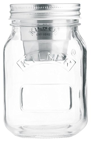 Kilner 0025.816 Snack On The Go Glass Jar Set Stainless Steel Cup Keeps Dry Ingredients Separate from Wet Foods, 17-Fluid Ounces