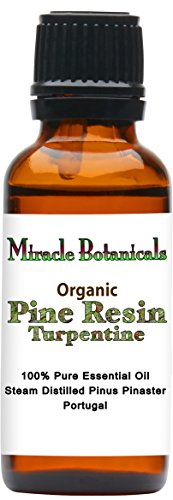 Miracle Botanicals Organic Pine Resin - Turpentine Essential Oil - 100% Pure Pinus Pinaster - 10ml or 30ml Sizes- Therapeutic Grade - 30ml