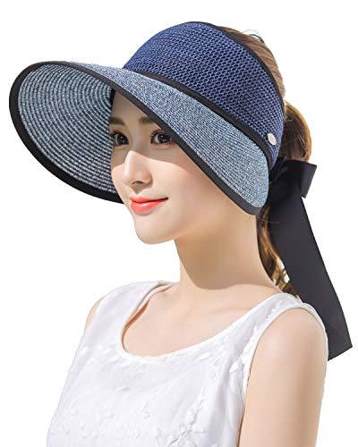 Women's Summer Foldable Straw Sun Visor UPF50 Wide Brim Sunblock Hiking Cap Gardening Travel Hat Navy