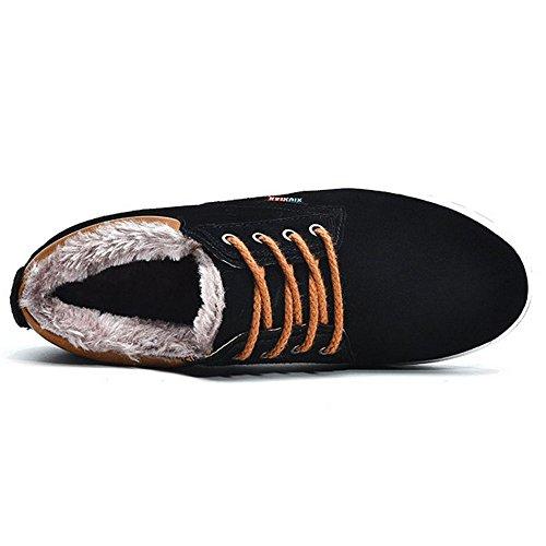 Black Black Black Caldo COOLCEPT Basse Scarpe Scarpe Scarpe Inverno Stringate Stivali Uomo AS0AZT