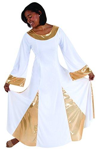 Body Wrappers 575 / 575XX Womens Praise Dance Metallic Robe (2X, White w/ ()