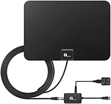 1Byone Outdoor Digital TV Antenna Amplified Strong Signal 1080P HD with Holder