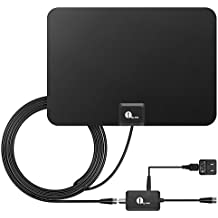 HDTV Antenna, 1byone HD Digital Indoor TV Antenna UPGRADED 2018 VERSION, 50 Miles Long Range with Amplifier Signal Booster for 1080P 4K Free TV Channels, Amplified 10ft Coax Cable