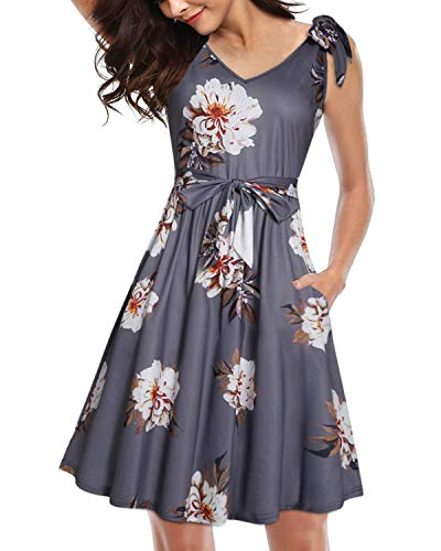 (II ININ Women's Summer Dress Shoulder Bowknot Bandage Waistband Sexy V-Neck Floral Midi Casual Sundress (Floral03,S))