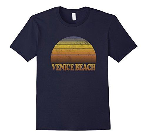 Mens Venice Beach T Shirt Vintage Sunset Adult Kids Teen Cool Fun Large Navy (Beach Mens Vintage T-shirt)