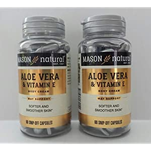 2 Pack Special of MASON NATURAL Aloe Vera & Vitamin E – 60 caps per bottle