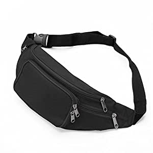 SAVFY Bum Waist Bag - [ 4 Zipper Pockets ] Waist Travel Hiking Outdoor Sport Bum Bag Holiday Money Hip Pouch with Adjustable Belt Passport Wallet Ticket Fanny Pack Festival - Black