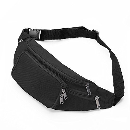 SAVFY Bum Waist Bag - [ 4 Zipper Pockets ] Waist Travel Hiking Outdoor Sport Bum Bag Holiday Money Hip Pouch with Adjustable Belt Passport Wallet Ticket Fanny Pack Festival - Black -