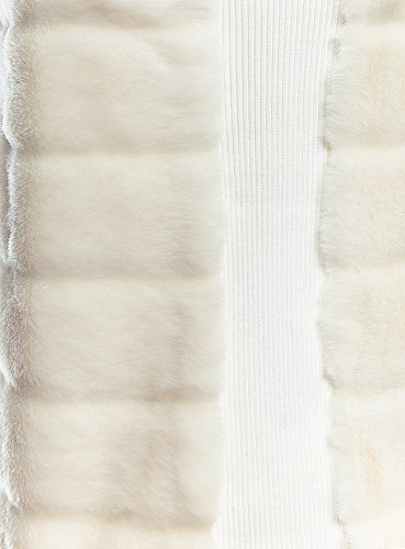 oodji Ultra Mujer Chaleco de Pelo Sintético en la Cremallera Blanco (1200N)