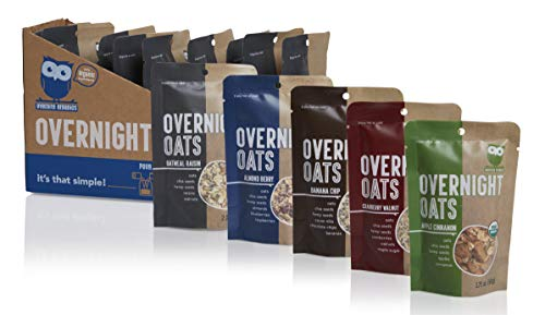 Overnite Organics Overnight Oats Variety Pack, USDA Organic, Good Source of Protein, High Fiber, 1.75-2oz Packages (Pack of 10) (Best Overnight Oats Recipe)