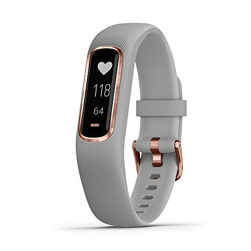 (Garmin vívosmart 4, Activity and Fitness Tracker w/ Pulse Ox and Heart Rate Monitor, Rose Gold w/ Gray Band)