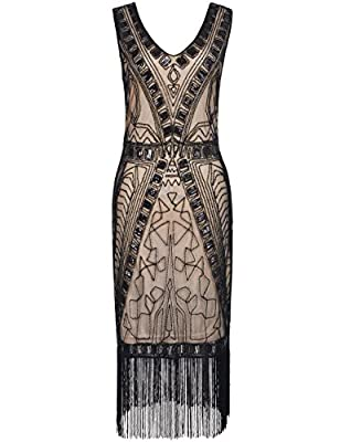 PrettyGuide Women 1920s Flapper Dress Art Deco Sequin Inspired Cocktail Gown