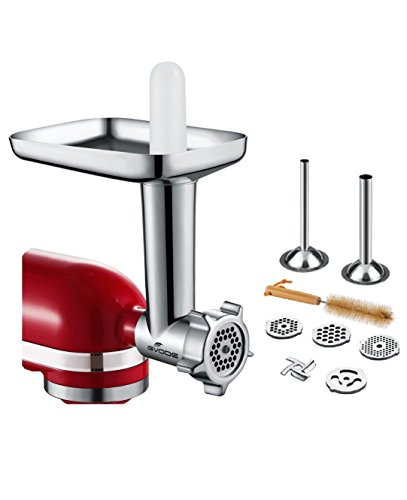 GVODE Food Meat Grinder Attachment for KitchenAid Stand Mixers Included 2 Stainless Steel Sausage Stuffers -Useful Mixer Accessory as Food Processor
