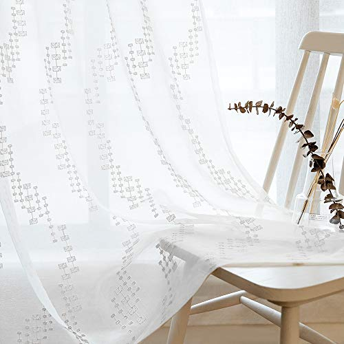 Embroidered Voile Curtains - Sheer Curtains White 45 Inch Length, Rod Pocket Voile Drapes for Living room, Bedroom, Embroidered Window Treatments Semi Crinkle Curtain Panels for Yard, Patio, Villa, Parlor, Set of 2, 52