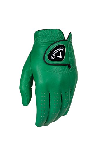 (Callaway Golf Men's OptiColor Leather Glove, Green, Cadet Medium, Worn on Left Hand)