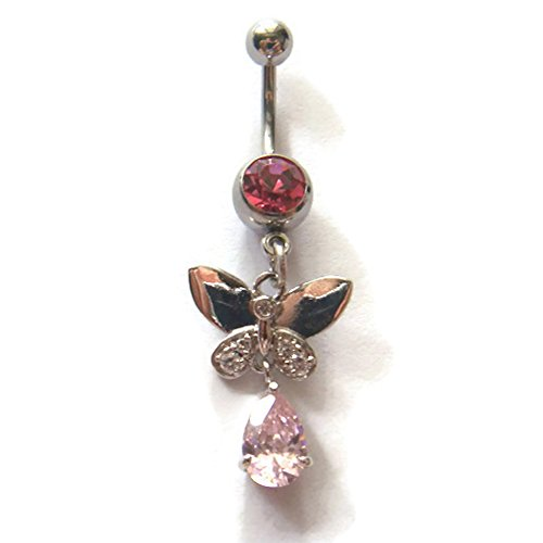 14g Dangle Butterfly Button Ring Navel Rings Bar Ear Body Piercing Jewelry