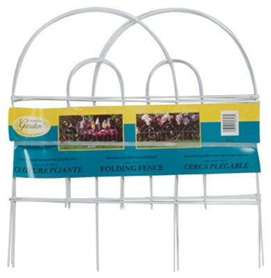 (18) ea Panacea Products 89313 18''H x 8' Long, White Metal Arch Folding Garden Fence by Panacea