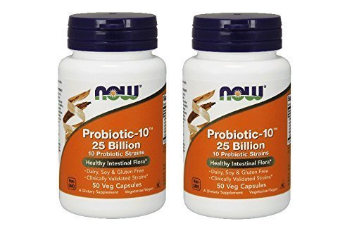 10 Probiotic (NOW Probiotic-10 25 Billion - 50 Veg Capsules, 2 Pack)
